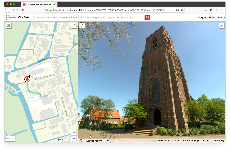 Panoramafoto van de kerk van Ransdorp in data.amsterdam.nl